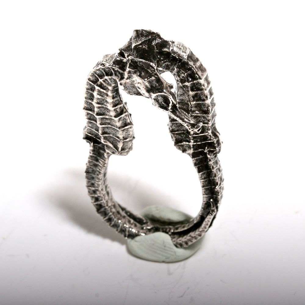 seahorse ring sterling silver size 5 or 6 5 by