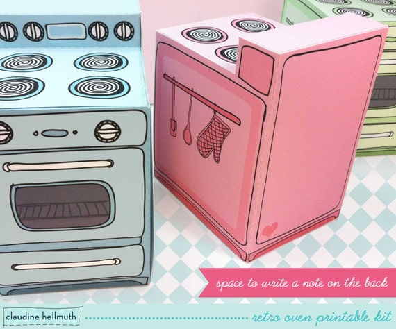 retro oven cupcake box cookie candy treat by claudinehellmuth