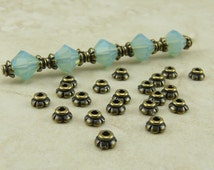 20 TierraCast 4mm Scalloped Tiny Bead Caps > Brass Ox Plated Lead-Free Pewter - I ship Internationally 5596
