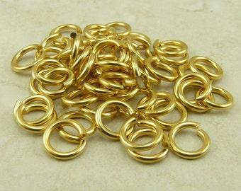 50 TierraCast 5mm 16g Jumprings jump rings > 22kt Gold Plated Brass - I ship internationally 0020