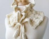 Fiber Art Scarf - Luxurious Merino Wool Hand-Knit Scarflette - Women Fashion Accessories - Ivory White Cream