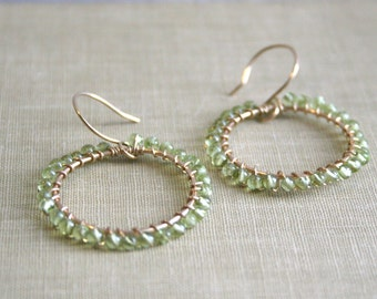 Green Peridot Gemstone and 14K Gold Filled Wire Hoop Earrings