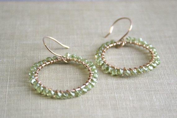 Green Peridot Gemstone and 14K Gold Filled Wire Hoop Earrings