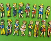 Laser Cut Wood Boys and Girls - Collection of 16 Wooden Art Parts Vintage Kids