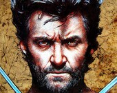 "Print 8x10"" - Wolverine - Hugh Jackman X Men Superhero Marvel Comics Sideburns Beard Actor Celebrities Pop Art Superman Spiderman Batman"
