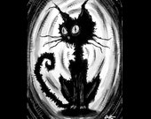 "Print 5x7"" - Lil Black Cat - Plus free ACEO - Cats Animal Spooky Halloween Cute Creepy Pets Gothic Fantasy Stray Dogs Dark Art Horror"