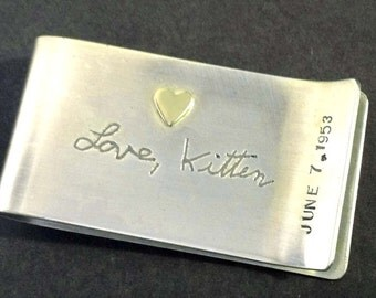 Personalized Own Handwriting Money Clip by donnaodesigns