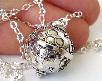 """14mm Mexican Bola Sterling Silver Maternity Pregnancy Harmony ball Chime Necklace 36"""" chain CN7"""
