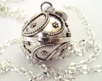 16mm Mexican Bola Sterling Silver Maternity Pregnancy Harmony ball Chime Necklace chain CN4