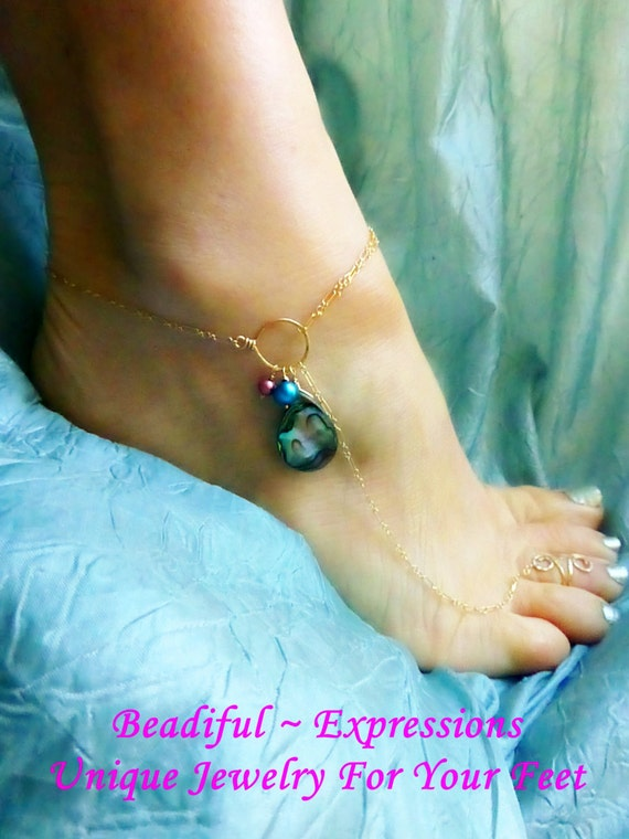Barefoot Sandal -  Abalone with Teal and Pink Pearls, Barefoot Jewelry - Available in SILVER too