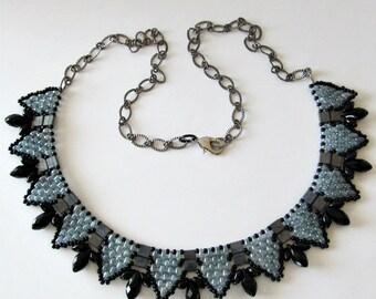 Beaded Choker Necklace, ON SALE, Was 75, now 48, Black, Smokey Blue Gray, Crystals, Gunmetal Chain, Beadweaving,  Beaded jewelry Beaded