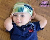 Jax Hats in toddler size - in green and blue stripes