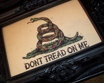 Don't Tread on Me Snake Traditional Tattoo Style Art Landscape Print 7x5 By Agorables Old School American Patriotic