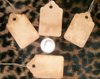 100**** xtra small blank Tags,Primitive,Rustic,Vintage Style,Stained,Coffee with string and shipping included