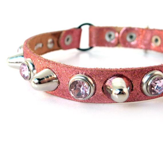 Tough Girl Glitter Leather Cat Collar, Size XS/S, to fit a 8-10in Neck, EcoFriendly, OOAK