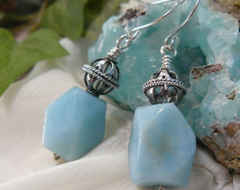 Blue Amazonite Earrings ~ Gothic Silver Bead Earrings ~ Aqua Earrings ~ Blue Bead Earrings ~ Blue Dangle Earrings ~ Aqua Drop Earrings