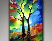 "Abstract tree on canvas from my original painting Two Trees, 24x36"" giclee print on stretched canvas, stained glass trees"