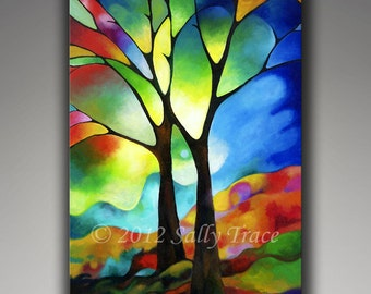 Tree Print from my abstract tree painting Two Trees giclee on stretched canvas, stained glass trees 24x36 inches,tree art,abstract landscape