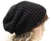 Womens Crochet Hat Slouchy Beanie Slouch Hipster Hat Black Beanie Hat
