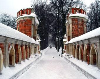 Ancient architecture. Landscape photography. Winter. Snow. Brick Tsaritsyno Bridge. Moscow, Russia. 8x10 print.