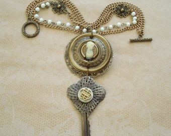 Peeping Through the Keyhole,Escutcheon and Key Necklace