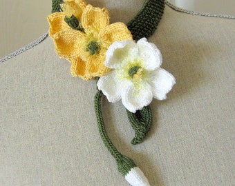 PDF Knit Flower Pattern - Buttercup Lariat