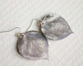 Antique Silk Aspen Leaf Earrings, Bridal Jewelry, Nature Jewelry