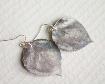 Antique Silk Aspen Leaf Earrings, Bridal Jewelry, Nature Jewelry