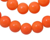 Glass Bead CLOSEOUT SALE (GB113) 8mm Bright Orange Round 16 inch Strand