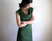 Organic Cotton Short Sleeve Ivy Green Dress / Cap Sleeve / Cowl Neck / Custom Made to Order - THIMBLEandACORN