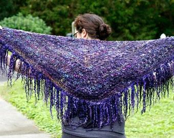 Knitting Shawl Pattern- Tailspun Tease- JazzTurtle Tailspun Art Yarn Knitting Pattern