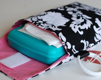 SALE!! Mystique Damask - Diaper and Wipes Stroller Organizer - Link Loop Diaper Bag