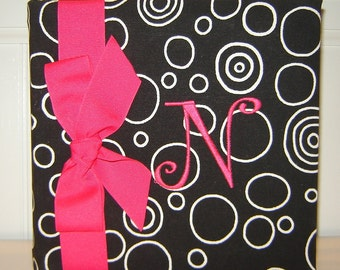 Black Bubble Fabric monogrammed with Hot Pink letter N