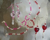 Heart Earrings And Bracelet Sets you choose Red or Pink