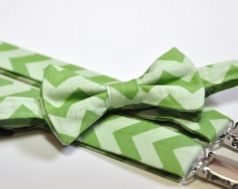 Boy's Bow Tie and Suspenders in Green Tonal Chevron