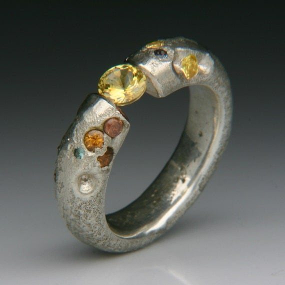OPHIUCHUS Floating Cuttle Fish Cast Silver Ring with Sapphires, Color Change Garnets and Tension Set Yellow Sapphire