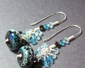 Brown and aqua blue dangle boro bead earrings  lampwork beads Sterling silver Swarovski crystals Custom handmade ear wires  -  QUIET