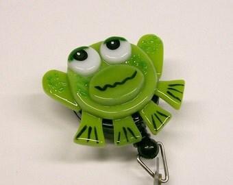 Fused Glass Frog Badge Holder