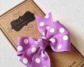 Hair Bow - Little Girl Hairbows - Polka Dot Pinwheel Bow - Dark Orchid and White Bow