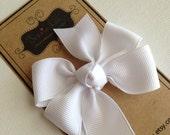 Hair Bow - Little Girl Hairbows - Small White Pinwheel Bow - White Bow