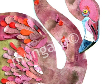 Florence Flamingo watercolor cuttings art print OR hand towel by Marley Ungaro