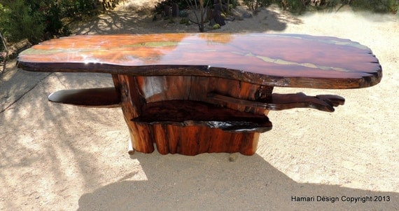 Giant Sequoia wood slab Bar, Super Rare live edge beauty, Redwood, Stone Inlay, 12 feet long
