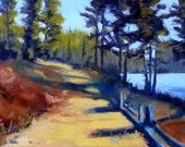 Landscape Oil Painting, Original on Canvas, Oregon Trail, River Walk, 9x12, Wall Decor, Northwest Trees, Woodland Path