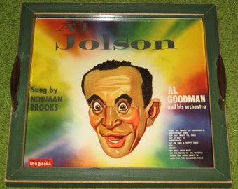 Recycled Picture Frame Vintage Record Album Cover Tray Art - Al Jolson, singer, home decor, green