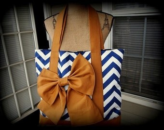 Handmade navy and white chevron tote bag with tan straps