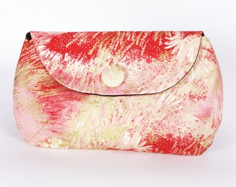 Red gold Japanese fields clutch purse