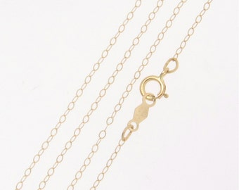 14K Solid Yellow Gold Chain - 20 Inch Finished Chain With Clasp