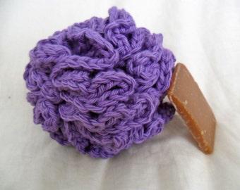 Purple Bath Puff - Purple Bath Pouf - Purple Bath Loofah - Cotton Bath Puff - Cotton Bath Pouf - Cotton Bath Loofah - Ecofriendly Bath