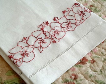 Tea Towel Hand Embroidery Kit Pansy Flowers