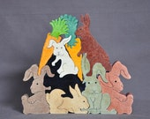 Bunch of Bunny Rabbits Easter Animal Puzzle  Wooden Toy Hand  Cut with Scroll Saw